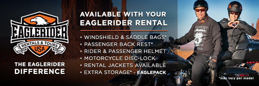EagleRider provides all the necessary extras for a comfortable ride on your rental Harley-Davidson
