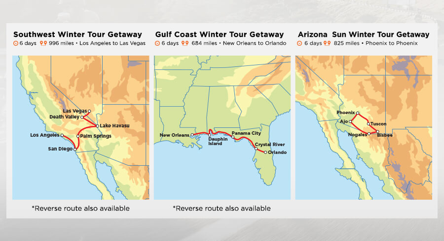 Winter Getaways tours map