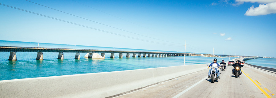 Seven Mile Bridge is a greay day ride on a motorcycle in Florida