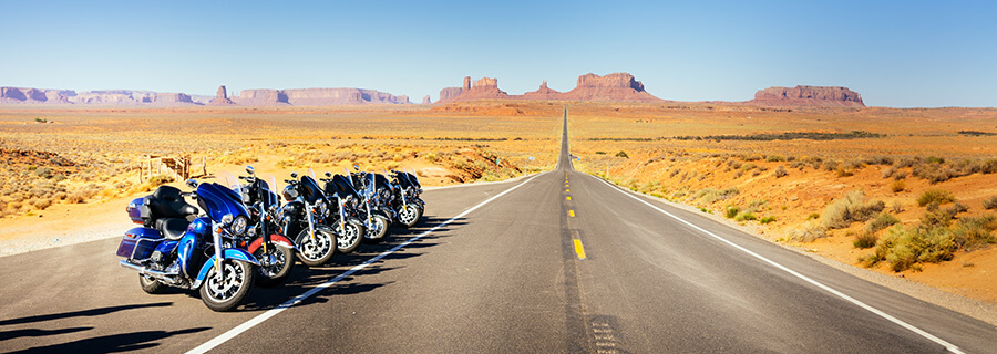Riding a Harley in Monument Valley