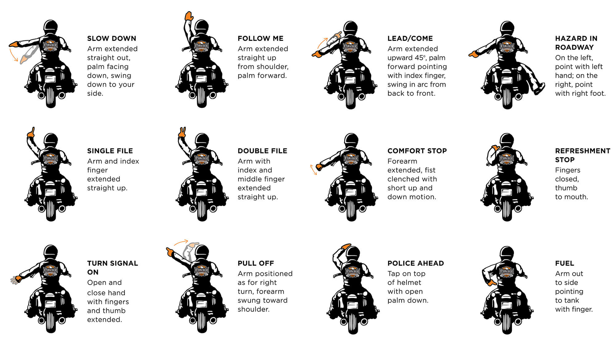 Group riding signals for motorcycle touring