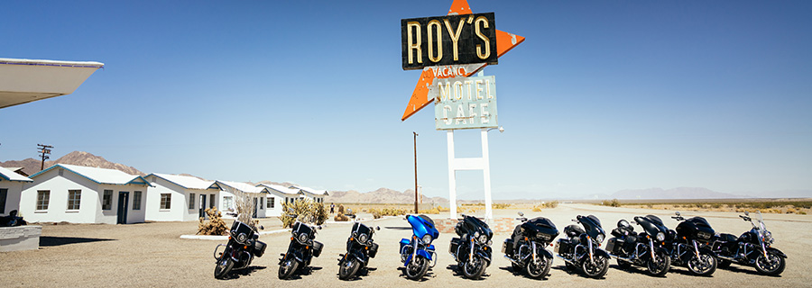 Route 66 motorcycle guided tour. Stop Amboy, CA