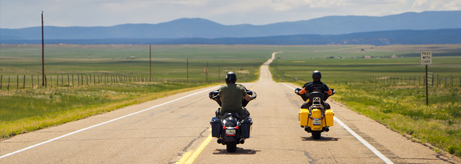 Riding through New Mexico on a Route 66 motorcycle trip