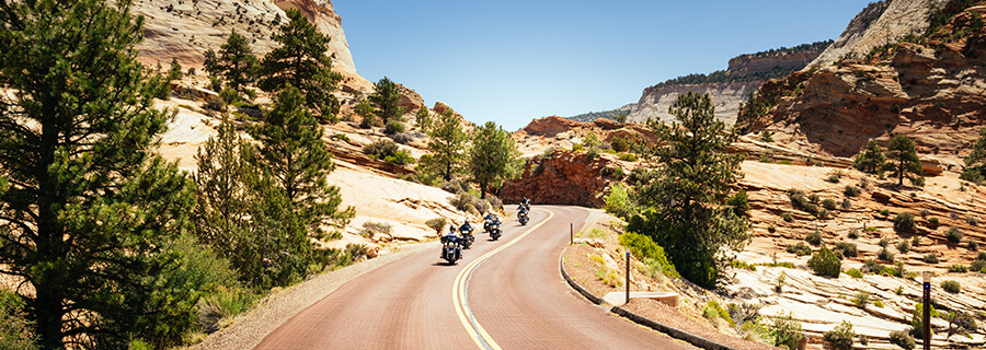 Motorcycle ride in Zion National Park